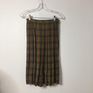 Gorgeous Vintage Retro Plaid Pleated Midi Skirt